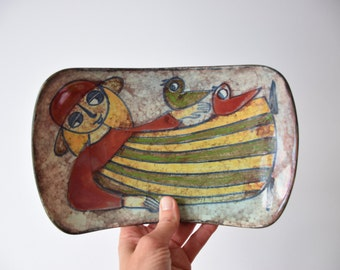 Marianne Starck for Michael Andersen & Son - oblong bowl - Girl with Birds - Persia glaze - Danish mid century