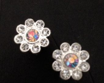 PAIR Small Crystal Flower Plugs Gauges 4g - 5mm 2g - 6mm 0g - 8mm