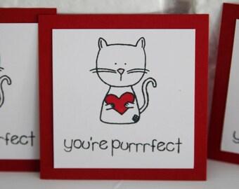 You're Purrfect Cat Valentine Card Set, Cat Holding Heart Mini Valentine Cards, Kids Valentines Cards, Classroom Valentine