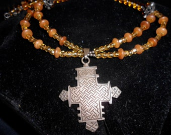 AMBER & CITRINE NECKLACE and earring set with Vintage Sterling Silver Cross from Taxco, Mexico