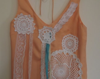 SALE - Gorgeous, upcycled, recycled peach top with lace and doillies  Size 10/12 UK