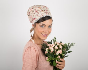 Romantic Floral tichel Half /Full Head Covering sinar, apron, head covering,headscarf, aprons, headband, headcovering, hair snood, mitpachat