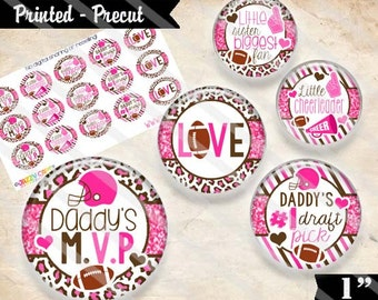 """Printed Precut: DADDY'S MVP Football 2732 - 1"""" Craft Images (4x6) Bottlecap Pendant Magnet Bow Keychain Scrapbooking"""
