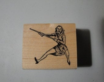 Rubber Stamp Woman Climbing or Swinging from Rope Ken Brown Stamps