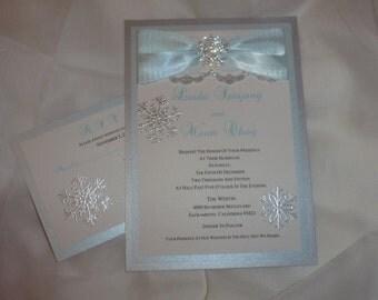"Winter Wedding Invitation  - "" Snow Ice """