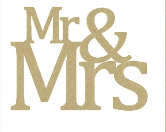 """Unfinished Wooden Mr & Mrs Sign - Unfinished and Available in Sizes 1"""" wide to 42"""" wide; Perfect for Crafts, DIY Wedding, Cake Topper"""