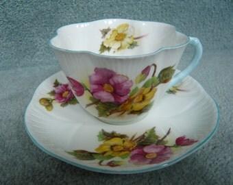 Vintage Shelley Dainty Shape BEGONIA Teacup and Saucer   1940s  PTN.  No. 13427