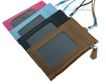 Leather ID card holder, zip wallet with weave Lanyard