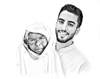 custom Family Portrait - Digital Sketch - Custom Artwork  - Sketch from Photo - family art - merging two photos - digital portraits