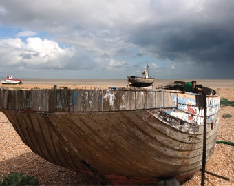 Storm brewing over Dungeness Kent photo greetings card giclee mounted glossy print