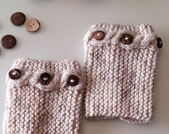 Button boot cuffs, knit boot cuff, knit cable boot cuff, Oatmeal boot cuffs, winter gift, fall accessories