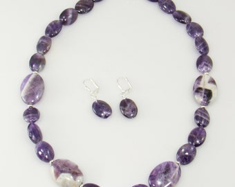 Gemstone Bead Necklace, Cape Amethyst Gemstone Necklace Set, Artisan Jewelry Statement Necklace (earrings included) (2532)