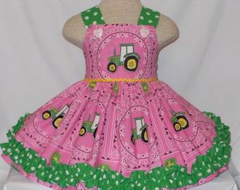 Custom boutique, John Deere Tractor Dress, Unique Handmade John Deere Farm Dress, Birthday Dress, Princess Dress, John Deere Dress, Unique
