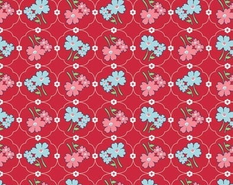 Laminated Cotton Fabric - Vintage Floral Red (L3783-RED) - Riley Blake Designs