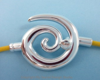 2sets 3mm-Hole Glue-In Swirl Clasp Silver Plated (F1485)