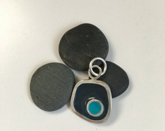 Recycled silver and resin pendant