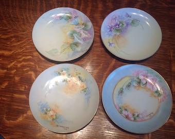 Floral Handpainted Porcelain Plates Vintage