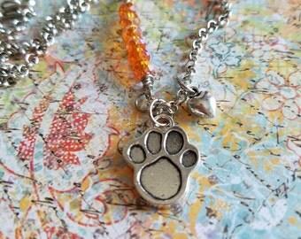 ChArM Gemstone NECKLACE> #Charm #Necklace #Gemstone #PawPrint #Dog #Puppy #Rescue #Orange #Layering #Love  #Feminine #Boho