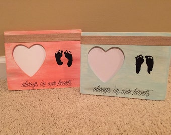 """Baby Footprint Frame - """"Always in our Hearts"""" (your baby's actual footprints)"""