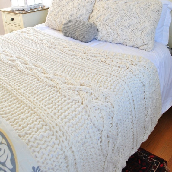 Knitting Queen Size Blanket : Queen size chunky cable knit blanket in cream by