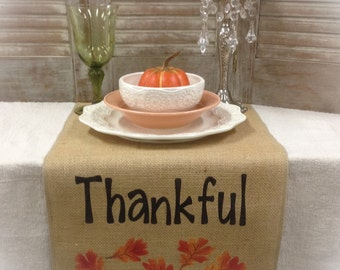 Thanksgiving table runner Burlap Table Runner with FINISHED edges & Thankful and leaf pattern on each end - Holiday