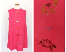FEB SALE Vintage 1960s 70 Sundress Boho Cotton Dress Folk Hippie Peasant Dress 70s Pink Folk Animal Embroidered Dress Mexican Southwestern D