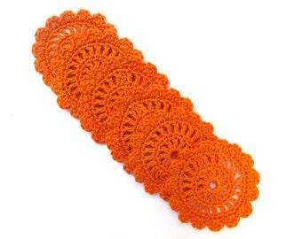 6 handmade beautiful doily orange coasters
