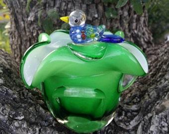 WHIMSY & CUTE! Artisan Handmade Murano Style Blown Glass Nesting Bird Dove Vase Candle Tealight Votive Holder Paperweight Figurine