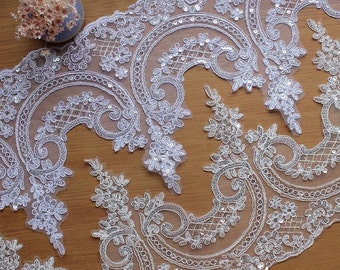 Beautiful Alencon Lace Trim with Sequins for Bridal, Veils, Gowns, Dresses, Bodice