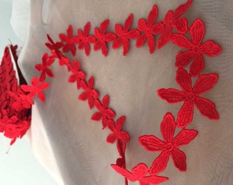 Red venise lace trim 2 yards