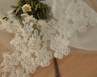 Beaded Alencon Lace Trim in Ivory for Bridals, Gowns, Wedding, Headpiece