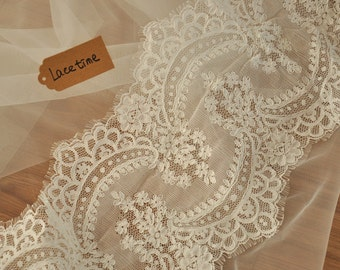Alencon lace trim in ivory for bridals, veils, gowns , wedding