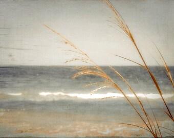 Blue Sea, warm cream tones, browns, golds,fine art photography 8x12