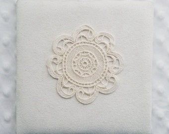 """3.5"""" Lace Round Applique - Ivory Antique Circle Lace for Table Cover Doily, Wall Decor,"""