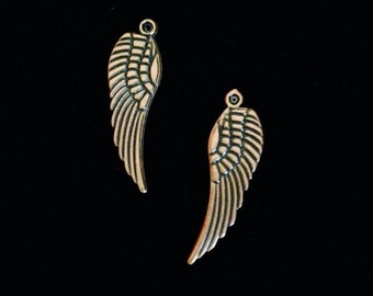 12 Pieces Angel Wing Cham, Double Sided wing charms antique Copper Finish 31x10mm 21-3-C