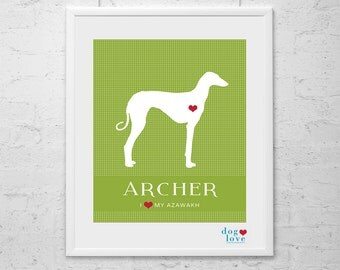 Azawakh Dog Silhouette - Personalized 8x10 Dog Art Print