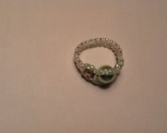 Size 8 Light Sky Blue Pearl Ring (Stretch Ring)