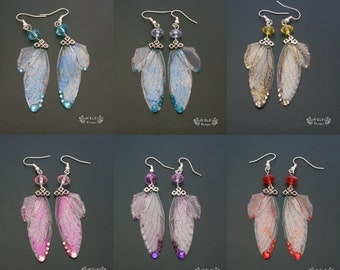 Fairy wing earrings. Fairy earrings. Fantasy jewelry. Glitter jewelry. Available in six colours