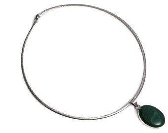 Necklace Malachite Pendant Sterling Silver green Gemstone