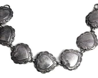 Heart Bracelet 925 Sterling Silver Vintage Jewelry