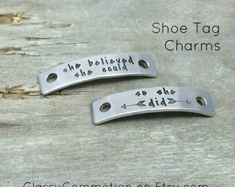 Shoe Tag Charms - Shoelace Charms - Running Shoe Tags - Hand Stamped Gifts and Jewelry - Stocking Stuffer - Secret Santa