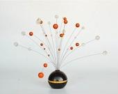 20% OFF Mid Century Modern Kinetic Sculpture / Atomic Home Decor / Space Age Decor / Orange  / 60's 70's Europe