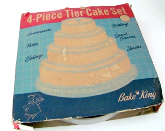 Vintage Cake Pans, 1960's Bake King Tier Cake Set, Layer Cake Pans, Wedding Cake Pans, 1960's Vintage Kitchen, Cookware