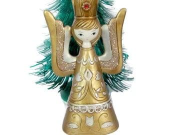 Vintage Christmas Candle Holder, 1960s Paper Mache Angel, Gold Angel Figurine, Japan Christmas, Holiday Figurine, 1960s Christmas Decoration