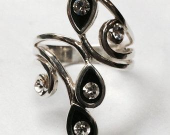 Sterling Silver & Rinestones Ring