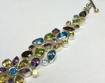 Multi Color Precios Stone Sterling Silver Bracelet