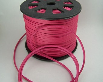 Magenta Faux Leather Cord 20 Feet USA Seller