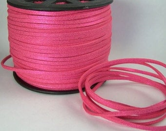 Hot Pink Sparkle Faux Suede Cord 20 Feet USA Seller