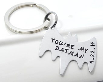 Personalized Batman Keychain with Date or Name