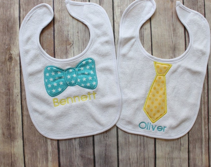 Twin Baby Bib Gift Set - Monogrammed Twin Bib Set for Baby Boy Twin Gift - Personalized Bibs for Twin Boy Baby Gift - Applique Monogram
